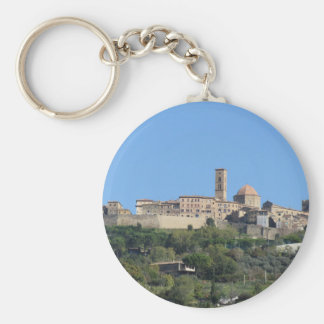 Panorama of Volterra village . Tuscany, Italy Basic Round Button Key Ring
