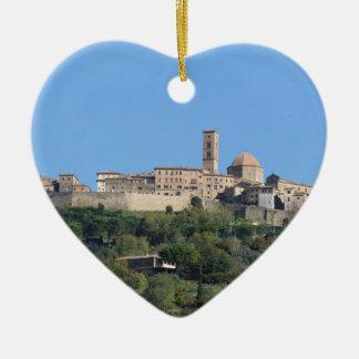 Panorama of Volterra village, Tuscany, Italy Ceramic Ornament