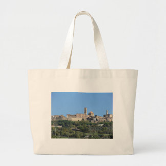 Panorama of Volterra village . Tuscany, Italy Large Tote Bag