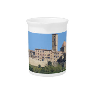 Panorama of Volterra village . Tuscany, Italy Pitcher