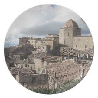 Panorama of Volterra village, Tuscany, Italy Plate