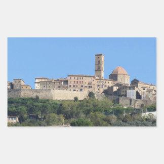 Panorama of Volterra village, Tuscany, Italy Rectangular Sticker