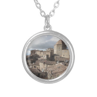 Panorama of Volterra village, Tuscany, Italy Silver Plated Necklace