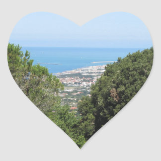 Panoramic aerial view of Livorno city Heart Sticker