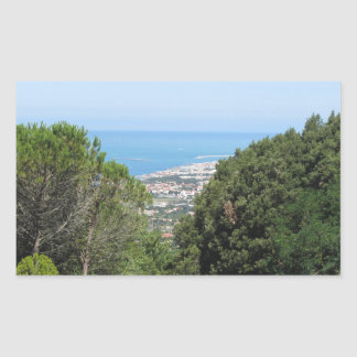 Panoramic aerial view of Livorno city Rectangular Sticker