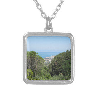 Panoramic aerial view of Livorno city Silver Plated Necklace