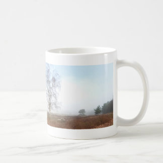 Panoramic Heathland Trees in Fog Mug