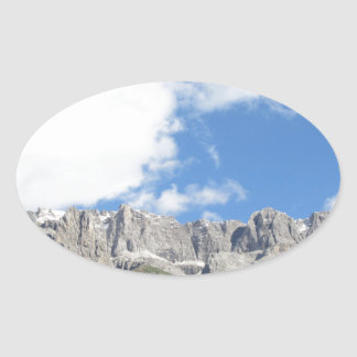 Panoramic mountain view of the Dolomites Oval Sticker