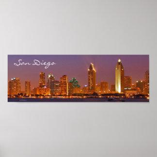 Panoramic San Diego Harbor At Night Poster