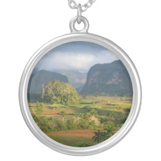 Panoramic valley landscape, Cuba Silver Plated Necklace