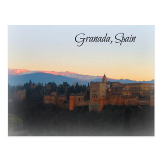 Panoramic view at Sunset of Alhambra and Granda Postcard