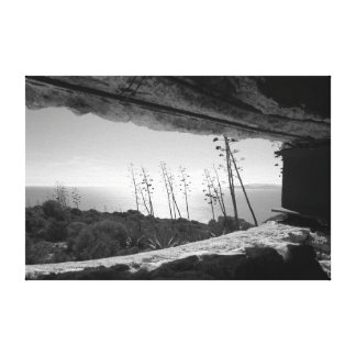 Panoramic view in black & white canvas print
