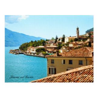Panoramic view Limone Lake Garda Italy Postcard