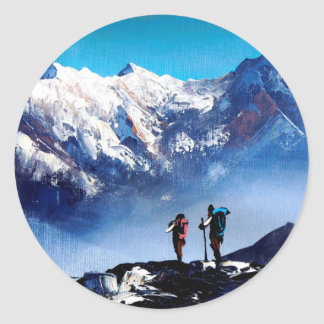Panoramic View Of Ama Dablam Peak Everest Mountain Classic Round Sticker