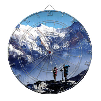 Panoramic View Of Ama Dablam Peak Everest Mountain Dartboard