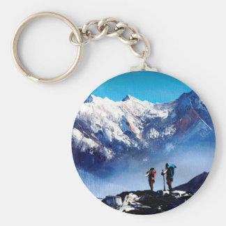 Panoramic View Of Ama Dablam Peak Everest Mountain Key Ring
