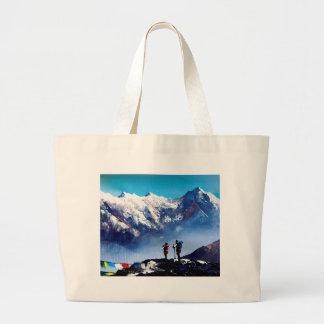 Panoramic View Of Ama Dablam Peak Everest Mountain Large Tote Bag