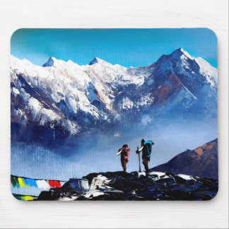 Panoramic View Of Ama Dablam Peak Everest Mountain Mouse Pad