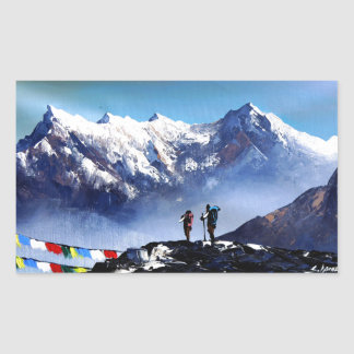 Panoramic View Of Ama Dablam Peak Everest Mountain Rectangular Sticker