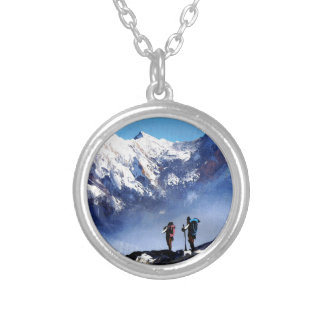 Panoramic View Of Ama Dablam Peak Everest Mountain Silver Plated Necklace