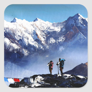 Panoramic View Of Ama Dablam Peak Everest Mountain Square Sticker