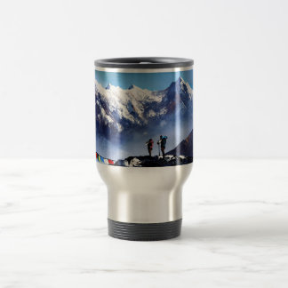 Panoramic View Of Ama Dablam Peak Everest Mountain Travel Mug