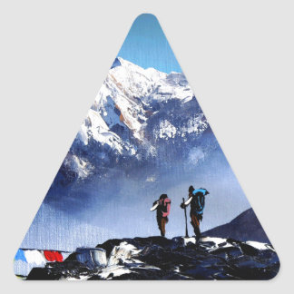 Panoramic View Of Ama Dablam Peak Everest Mountain Triangle Sticker