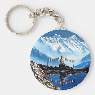 Panoramic View Of Annapurna Mountain Nepal Basic Round Button Key Ring