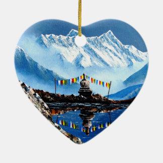 Panoramic View Of Annapurna Mountain Nepal Ceramic Heart Decoration