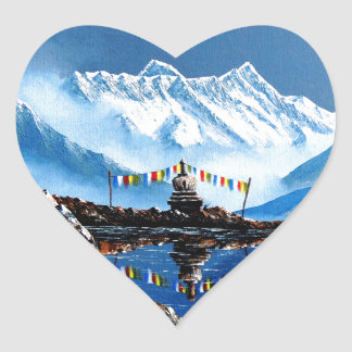 Panoramic View Of Annapurna Mountain Nepal Heart Sticker