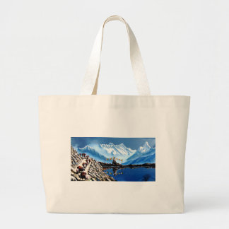 Panoramic View Of Annapurna Mountain Nepal Large Tote Bag