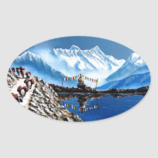 Panoramic View Of Annapurna Mountain Nepal Oval Sticker