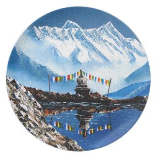 Panoramic View Of Annapurna Mountain Nepal Plate