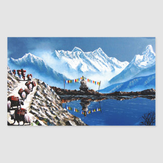 Panoramic View Of Annapurna Mountain Nepal Rectangular Sticker