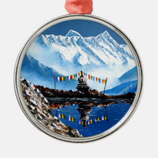 Panoramic View Of Annapurna Mountain Nepal Silver-Colored Round Decoration