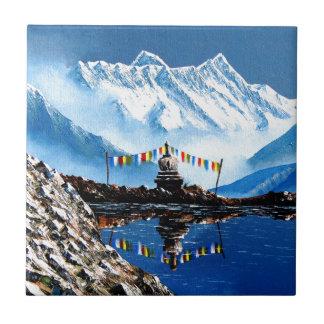 Panoramic View Of Annapurna Mountain Nepal Small Square Tile