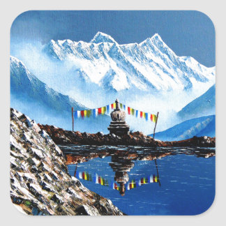 Panoramic View Of Annapurna Mountain Nepal Square Sticker