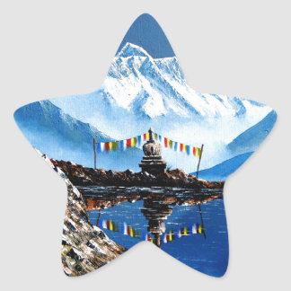 Panoramic View Of Annapurna Mountain Nepal Star Sticker