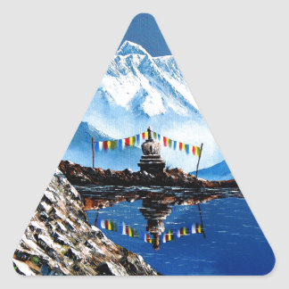 Panoramic View Of Annapurna Mountain Nepal Triangle Sticker