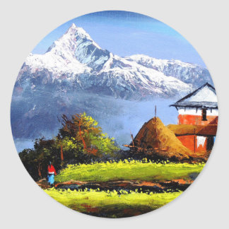 Panoramic View Of Beautiful Everest Mountain Classic Round Sticker