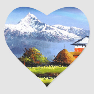 Panoramic View Of Beautiful Everest Mountain Heart Sticker