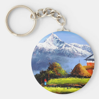 Panoramic View Of Beautiful Everest Mountain Key Ring