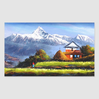 Panoramic View Of Beautiful Everest Mountain Rectangular Sticker