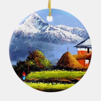 Panoramic View Of Beautiful Everest Mountain Round Ceramic Decoration
