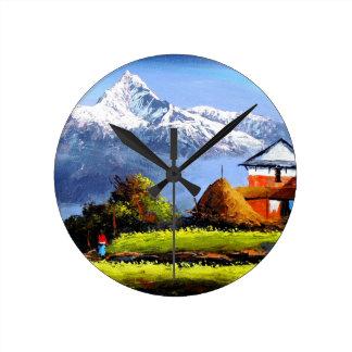 Panoramic View Of Beautiful Everest Mountain Round Clock