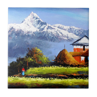 Panoramic View Of Beautiful Everest Mountain Small Square Tile
