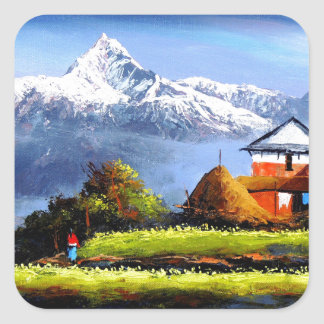 Panoramic View Of Beautiful Everest Mountain Square Sticker