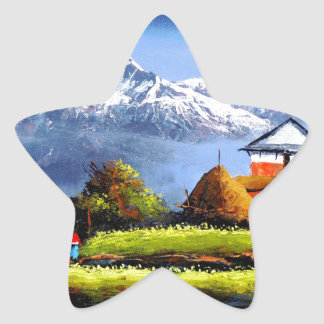 Panoramic View Of Beautiful Everest Mountain Star Sticker