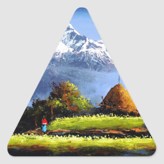 Panoramic View Of Beautiful Everest Mountain Triangle Sticker