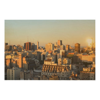 Panoramic View Of Cityscape At Dusk Wood Canvas